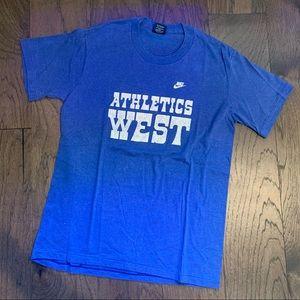 RARE Vintage 80s Nike Blue Athletics West T-Shirt